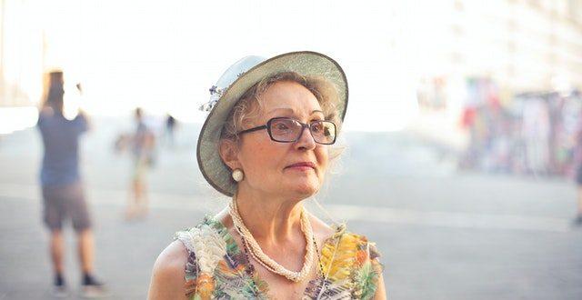 elderly woman in glasses